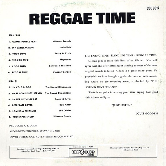 Reggae Time back cover