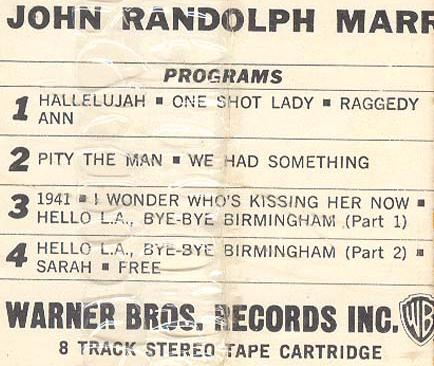 John Randolph Marr 8 Track label