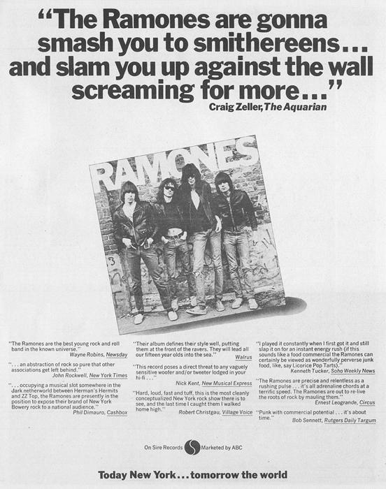Ramones 1976 ad