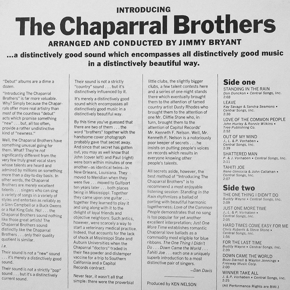 Chaparral Brothers - back cover x