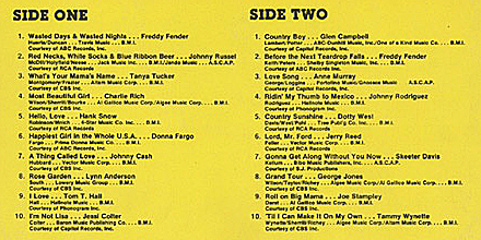 K-Tel's Country Superstars LP-track listing