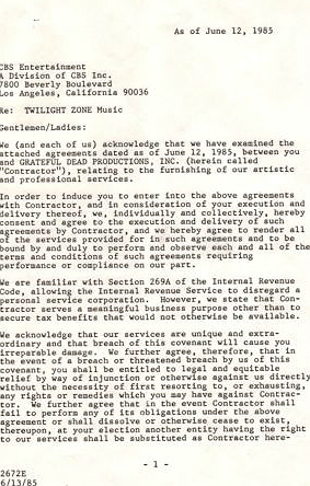 Grateful Dead Twilight Zone contract