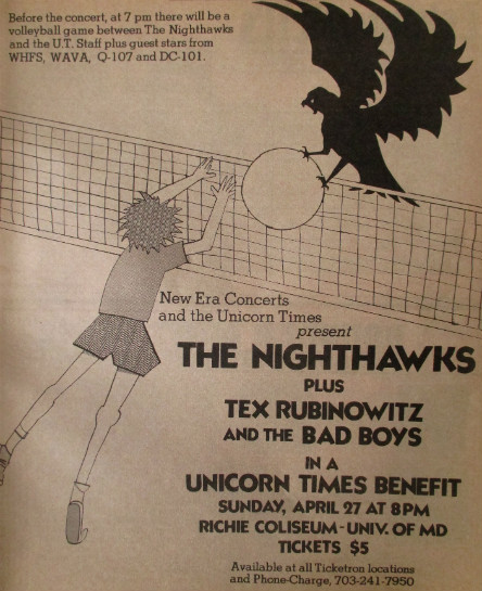 Benefit for Unicorn Times (Apr 80 ad) - Nighthawks Tex Rubinowitz & Bad Boys