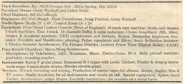 Track Recorders - Summary Specs (Unicorn Times - 1980)