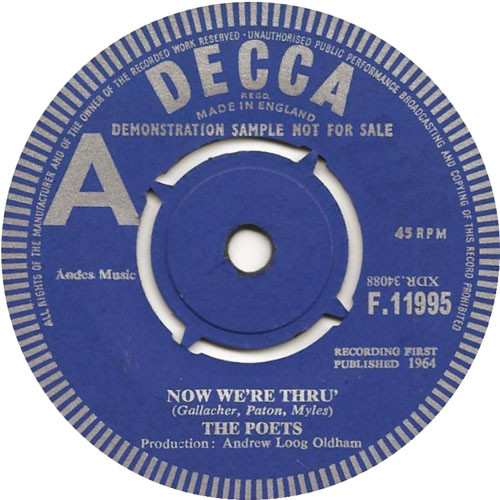 Now We're Thru - The Poets 45