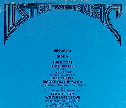 K-Tel's Listen to the Music-rear cover